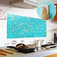 Кухонная наклейка на кафельную плитку 90х60 в голубых оттенках