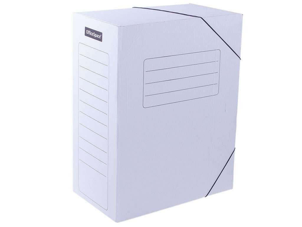 Архивный короб OfficeSpace на резинках, 235x150x325 мм, микрогофрокартон, белый