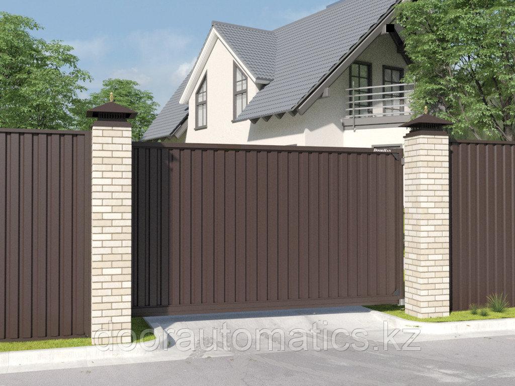 Откатные уличные ворота стандартных размеров с заполнением профлистом REVOLUTION-SLS