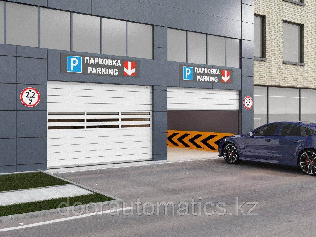 Скоростные секционные ворота из алюминиевых сэндвич-панелей с торсионным механизмом ISD01-Parking