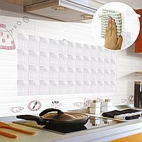 Кухонная наклейка на кафельную плитку 90х60 серебристая и белая