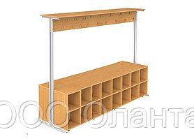 Вешалка для школьного гардероба на 36 мест с обувной тумбой( 2400х400х1700 мм) двухсторонняя арт. В-1/1