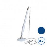 Ручка шариковая настольная OfficeSpace, 0,7 мм, белый корпус, синяя, металлическая цепочка