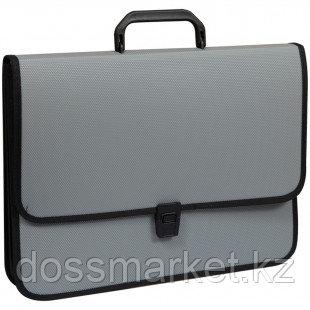 Папка-портфель OfficeSpace, А4+ формата, 2 отделения, на замке, серый