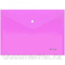 """Папка-конверт с кнопкой Berlingo """"Starlight"""", А4, 180 мкм, прозрачная, розовая"""