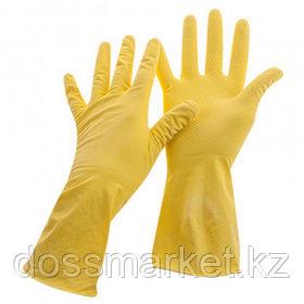 Перчатки для уборки OfficeClean, 1 пара, универсальные, размер L, латекс, желтые