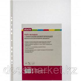 Файл-вкладыш А4, 100 мкм, глянцевый, перфорированный, 100 штук в упаковке, цена за упаковку, KUVERT