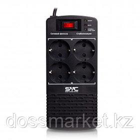 Стабилизатор напряжения SVC AVR-1000-L,1000ВА/500Вт, 4 розетки, черный