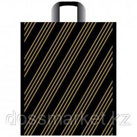 """Пакет с петлевой ручкой Артпласт """"Золотая полоса"""", 38*45 см, черный, 50 шт"""
