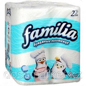 Полотенца бумажные Familia, 2-х слойные, 4 рулона в упаковке, 12,5 м, белые