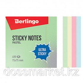 """Блок самоклеящийся 75*75 мм, Berlingo """"Ultra Sticky"""", 4 пастельных цвета, 400 листов"""