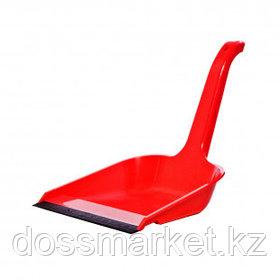 Совок OfficeClean, пластик, высокая ручка, красный