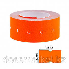 Этикет-ценник OfficeSpace, прямоугольные, 21 мм*12 мм, 500 шт. в рулоне, оранжевый
