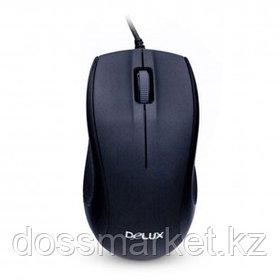 Мышь проводная оптическая Delux DLM-375OUB, USB, 3 кнопки, 800 dpi, черная