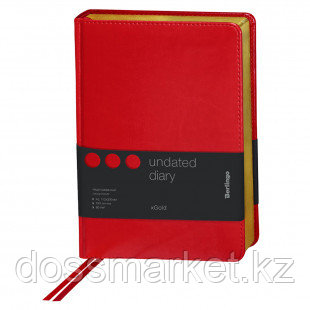 """Ежедневник недатированный Berlingo """"xGold"""", А5, 160 л., кожзам, золотой срез, красный"""