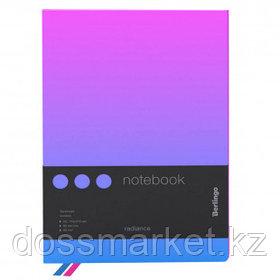 """Записная книжка Berlingo """"Radiance"""", А5, 80 листов, черный срез, в клетку, розовый/голубой"""