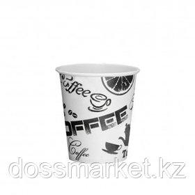 """Стакан бумажный одноразовый """"Coffee"""", 185 мл, черно-белый, цена за штуку"""