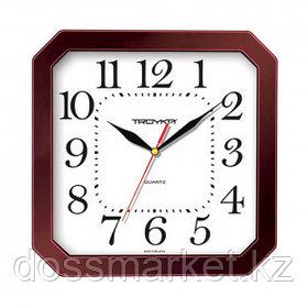 Часы квадратные Troyka, d=29 см, бордовые, пластиковые, минеральное стекло