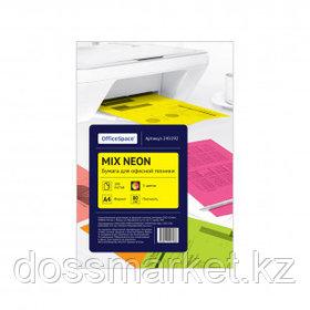 Бумага OfficeSpace neon mix, А4, 80 г/м2, 100 листов, 5 неоновых цветов