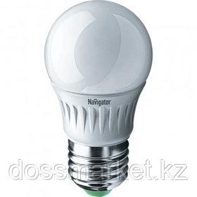 Лампа светодиодная Navigator NLL-G45, 5 Вт, 4000К, нейтральный белый свет, E27, форма шар