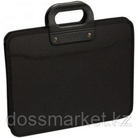 Папка-портфель OfficeSpace, А4+ формата, 3 отделения, на молнии, черный