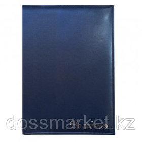 """Папка адресная """"На подпись"""", А4, золотое тиснение, с кармашком для бумаг и ручки, темно-синяя"""