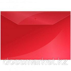 Папка-конверт с кнопкой OfficeSpace, А4, 150 мкм, красная
