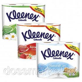 Туалетная бумага рулонная Kleenex, 3-х слойная, 4 рулона, ассорти