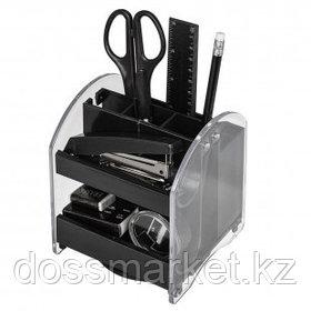 Настольный органайзер Attache, 10 предметов, вращающийся, прозрачный/черный