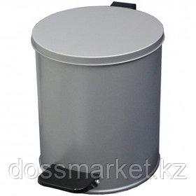 Ведро-контейнер для мусора Титан, 15 л, с педалью, круглое, металл, серый металлик