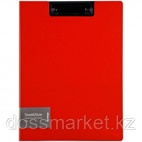 """Папка-планшет Berlingo """"Steel&Style"""", А4, с верхним прижимом и крышкой, красная"""