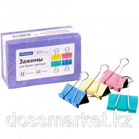 Зажимы для бумаг OfficeSpace, 51 мм, 12 шт., цветные