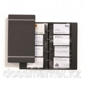 Визитница 4-х рядная Durable Visifix на 200 визиток, 145*225 мм, антрацитовая, на 4-х кольцах