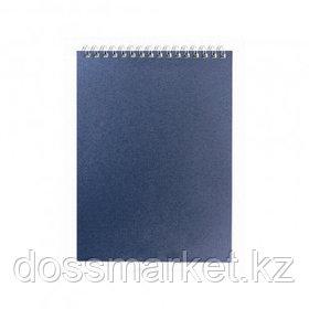 """Блокнот Office-Expert.kz """"Эконом"""" А6, 80 листов, на гребне, в клетку, темно-синий"""
