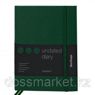 """Ежедневник недатированный Berlingo """"Western"""", B6, 136 л., с резинкой, зеленый"""
