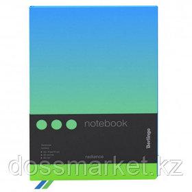 """Записная книжка Berlingo """"Radiance"""", А5, 80 листов, черный срез, в клетку, голубой/зеленый"""
