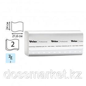 Полотенца бумажные Veiro Professional Premium, 2-х слойные, 22*24 см, Z-сложение, белые