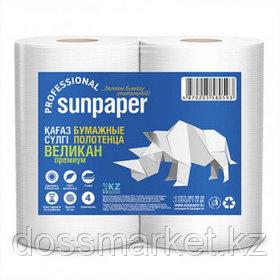 """Полотенца бумажные Sunpaper """"Великан Premium"""", 2-х слойные, 134 м, белые, 2 рул/упак"""