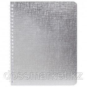 """Тетрадь Hatber """"Metallic. Серебро"""", А5, 48 листов, в клетку, бумвинил, на гребне"""