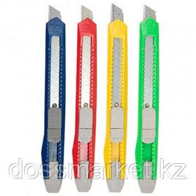 Нож канцелярский OfficeSpace, сменные лезвия 9 мм, в индивидуальной упаковке, ассорти