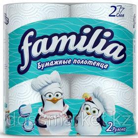 Полотенца бумажные Familia, 2-х слойные, 2 рулона в упаковке, 12,5 м, белые
