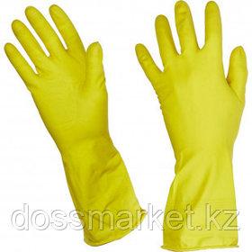 Перчатки для уборки Luscan, латекс, с хлопковым напылением, размер L, желтые