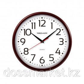 Часы круглые Troyka, d=23 см, бордовые, пластиковые