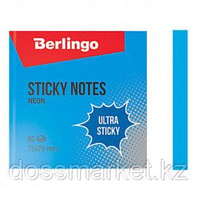"""Блок самоклеящийся 75*75 мм, Berlingo """"Ultra Sticky"""" НЕОН, синий, 80 листов"""