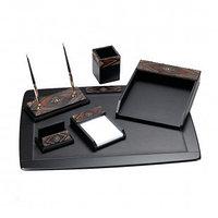 Набор настольный Delucci, 6 предметов, черный/темно-коричневый орех, декоративный камень