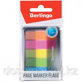 Закладки самоклеящиеся Berlingo, пластиковые, 45*12 мм, 5 цветов НЕОН, 100 листов, в диспенсере