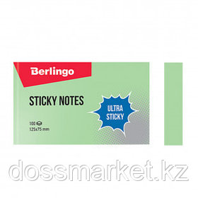 """Блок самоклеящийся 125*75 мм, Berlingo """"Ultra Sticky"""", зеленый, 100 листов"""