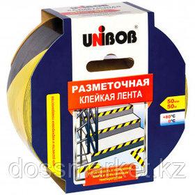 Разметочная виниловая лента Unibob, ширина ленты 50 мм, длина намотки 50 м, желто-черная
