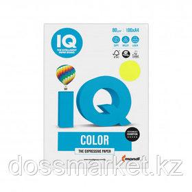 Бумага IQ Color Neon, А4, 80 г/м2, 100 листов, желтый неон