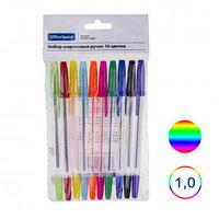 Набор шариковых цветных ручек OfficeSpace, 1 мм, 10 шт в упаковке, ассорти